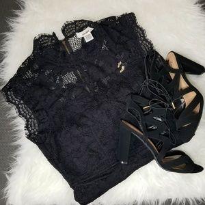 Black High Neck Lace Illusion Neckline Dress
